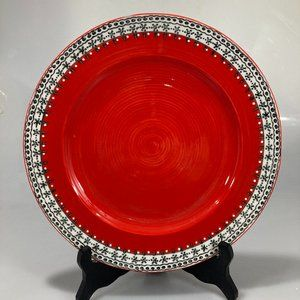 Anthro Red w Teal White Banded Border Dinner Plate